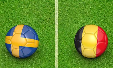 Team balls for Sweden vs Belgium football tournament match, 3D rendering