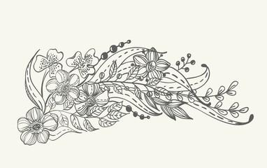 Stylish floral doodle background
