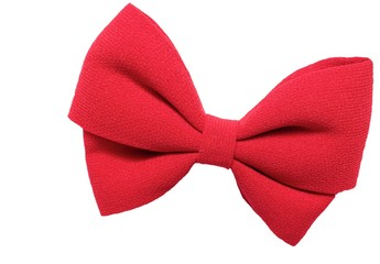 Isolated big red bow for hair, white background