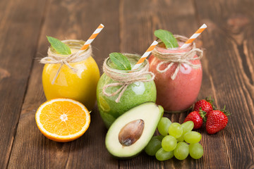 Fresh fruit and jar with smoothie