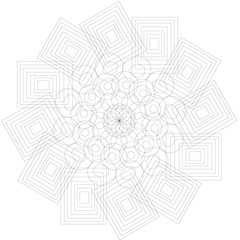 Black mandala for coloring. Mandala vector coloring page. Mandala art design. Intricate mandala pattern. Unusual mandala tattoo. Outline mandala flower. Line mandala print. Oriental mandala color book