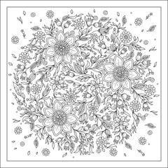 Forest flowers. Vector coloring book pages.
