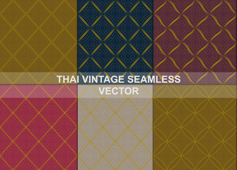 Thai vintage seamless patterns vector abstract background, with seamless patterns in swatch