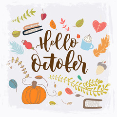 Hand drawn grange vector card. Hello october. . Grunge autumn postcard.
