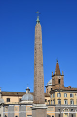 Flaminio Obelisk. Ancient egyptian obelisk in the center of Piazza del Popolo square. Built during the kingdom of Pharaoh Ramesses II and brought to Rome by Emperor Augustus in the 10 BC