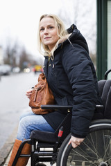 Young woman on wheelchair