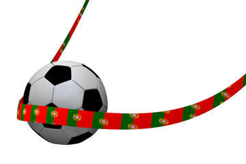 Football with Portugal ribbon 3D rendering