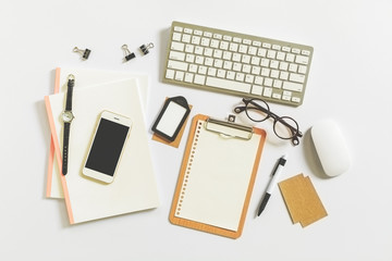 Flat lay photography with essentials business woman, Workspace d