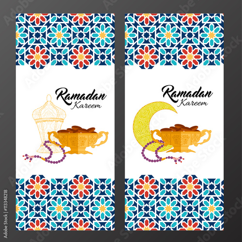 ramadan holiday cards with vector islamic pattern with lantern crescent vase dates bead icons flat