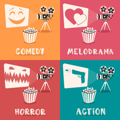 Movie genres poster. Cartoon vector illustration. Film projector and popcorn