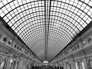 black and white photo of the roof shopping center