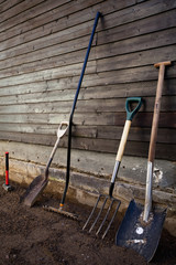 Group of gardening tools against wooden wall