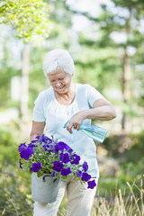 Happy senior woman spraying water on flower plant