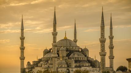 Blue mosque in glorius sunset, Istanbul, Sultanahmet park. The biggest mosque in Istanbul.