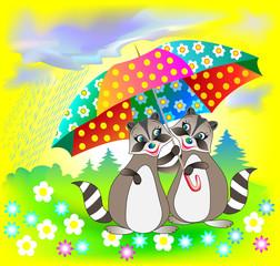 Illustration of couple of raccoons holding umbrella, vector cartoon image.
