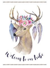 Watercolor hand drawn deer.ethnic print in native western Americ