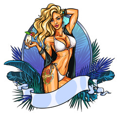 Party girl in bikini with cocktail. Label.
