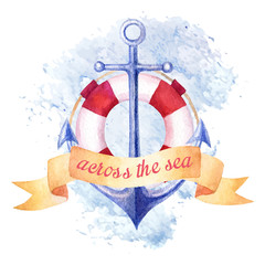 Nautical summer watercolor background with anchor
