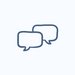 Speech squares sketch icon.
