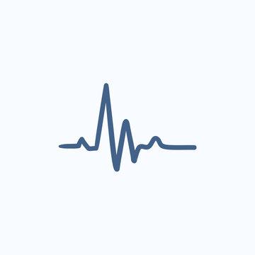 Heart beat cardiogram sketch icon.