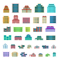 35 detailed colorful residential houses collection. Home exterior set. Real estate house residential apartment icons. Flat design vector concept illustration. Isolated on a white background