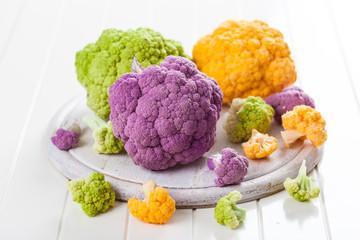 Assortment of organic cauliflower