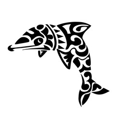dolphin black tattoo Polynesia Maori vector