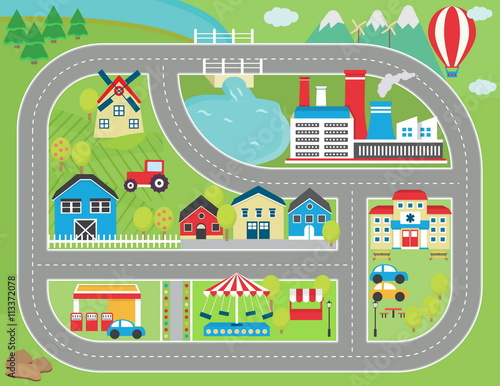 Quot Lovely City Landscape Car Track Play Mat For Children
