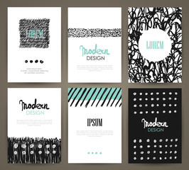 Set of brochures with hand drawn abstract design elements, patterns and textures. Vector templates.