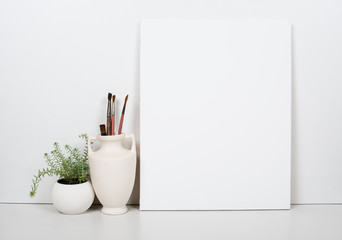 Empty blank canvas on a white background, home interior decor Wall mural
