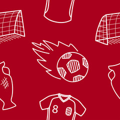 Football theme. Vector seamless pattern