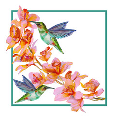 card with orchid flowers, watercolor