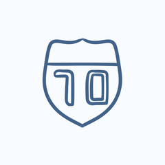 Route road sign sketch icon.