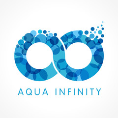 Aqua infinity logo. Mineral natural water vector infinity drop icon design. Sea wave bubble splash emblem