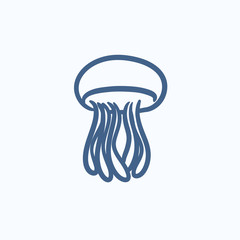 Jellyfish sketch icon.
