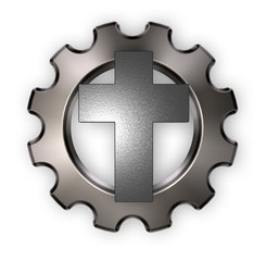 christliches kreuz und zahnrad