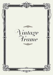 Vintage Ornament Border. Decorative Floral Frame Vector.