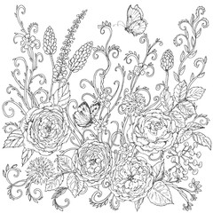 Hand drawn floral pattern with tea roses.