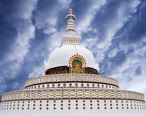 Shanti Stupa (Peace Pagoda) in Leh, Jammu and Kashmir, India