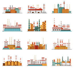 Industrial plant and factory set of icons