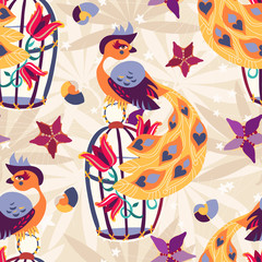 Exotic tropical bird on cage seamless pattern.