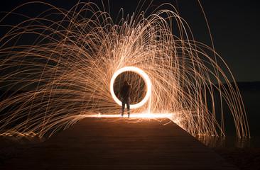 Cerchi di fuoco e scintille nella notte