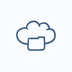 Cloud computing sketch icon.