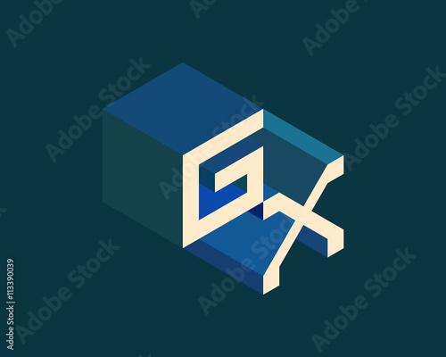 GX isometric 3D letter logo  three-dimensional stock vector alphabet