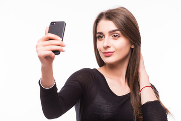 Young girl make selfie on phone