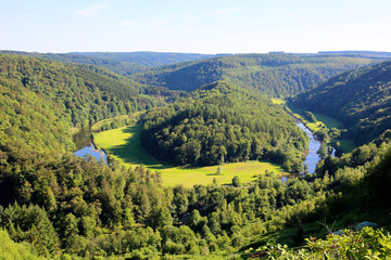 Elevated view from famous viewpoint of Giant's tomb lying inside the bend of the river Semois, located nearby the city of Bouillon, Wallonia, Ardennes, Belgium.
