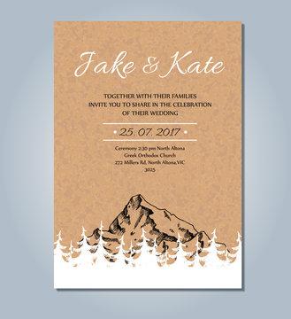 Mountain wedding invitation. Vector rustic card template