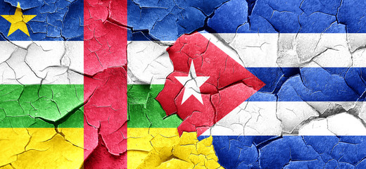Central african republic flag with cuba flag on a grunge cracked