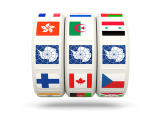 Slots with flag of antarctica