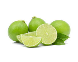 limes isolated on a white background